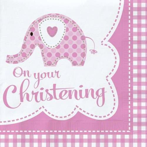 SWEET ELEPHANT ON YOUR CHRISTENING PINK LUNCH NAPKINS