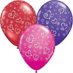 "SWIRL HEARTS 11"" RED, PURPLE VIOLET & WILD BERRY (25CT)"