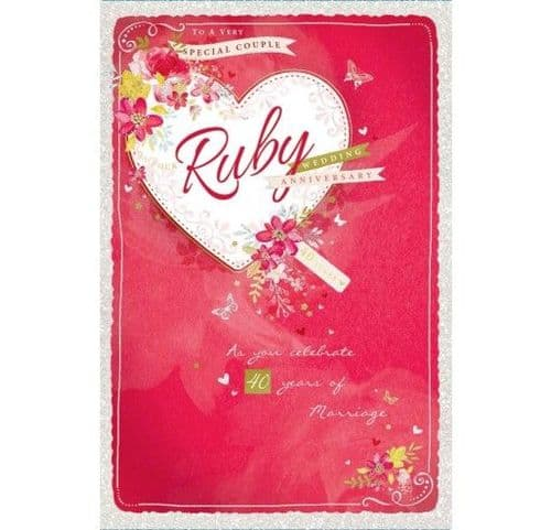 To A Very Special Couple Ruby Wedding Anniversary