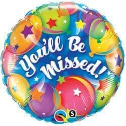"""YOU'LL BE MISSED BALLOONS 18"""" PKT"""