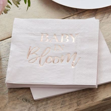 Baby in Bloom, Pink & Rose Gold Baby Shower Party Paper Napkins