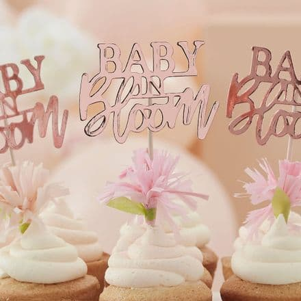 Baby in Bloom, Rose Gold Floral Baby Shower Party Cupcake Toppers