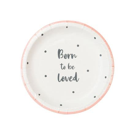 Baby Shower, Born To Be Loved, Hey Baby, Pink Paper Plates