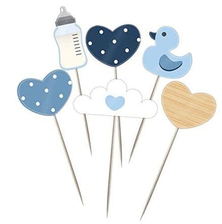 Baby Shower Cup Cake Picks - Blue