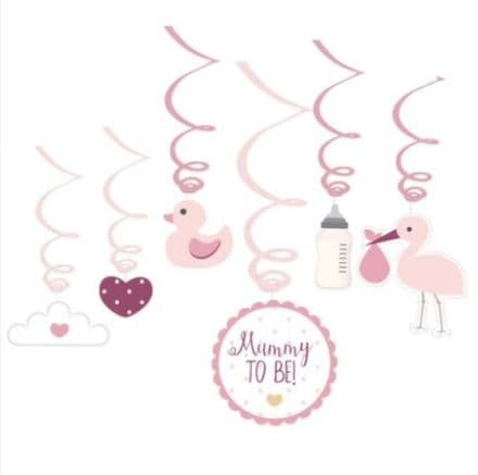 Baby Shower Swirl Decorations - Pink