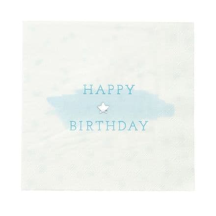 Blue & White Happy Birthday Paper Napkins - pack of 16
