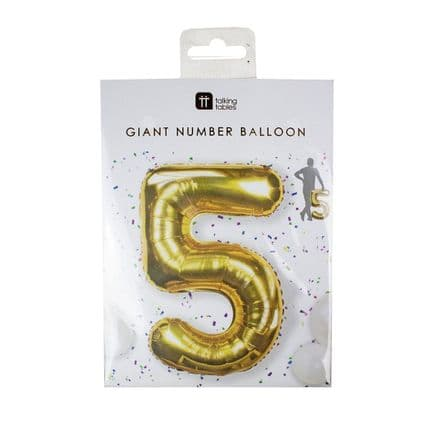 Giant Gold Foil Number Balloon - 5