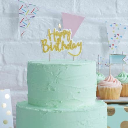 Gold  Glitter Happy Birthday Cake Candle