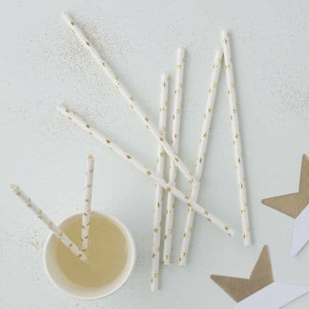 Gold Star Party Paper Straws