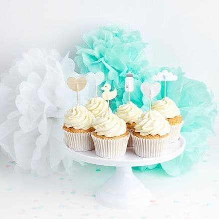 Green Baby Shower Party Cake Toppers