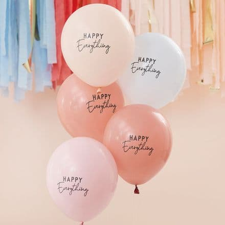 Happy Everything, Muted Pastel Party Balloons x5