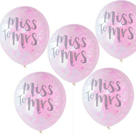 Miss To Mrs Confetti Balloons x 5