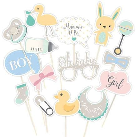 Oh Baby, Baby Shower Photo Booth Props - Unisex