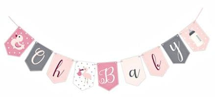 Oh Baby Pink Baby Shower Bunting