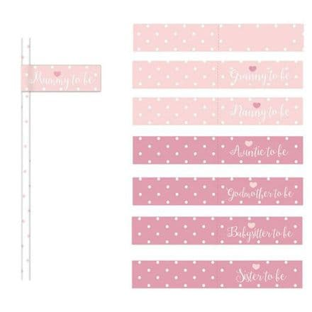 Pink Baby Baby Shower Paper Straws