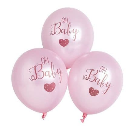 Pink Oh Baby, Baby Shower Party Balloons x6