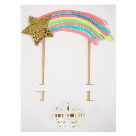 Rainbow Shooting Star Birthday Cake Topper