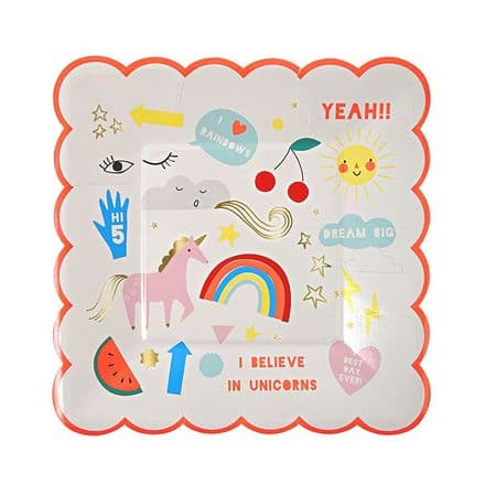 Rainbows and Unicorns Party Plates