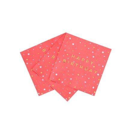 Rose Pink & Gold, Happy Birthday, Paper Party Napkins