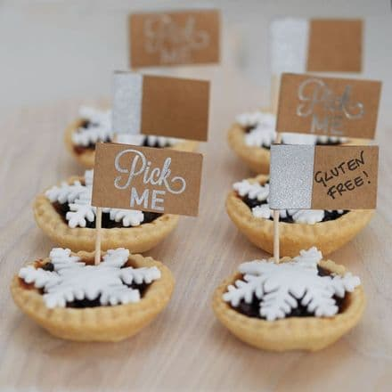 Silver Glitter and Kraft Mince Pie Sticks / Food Flags - Pack of 12
