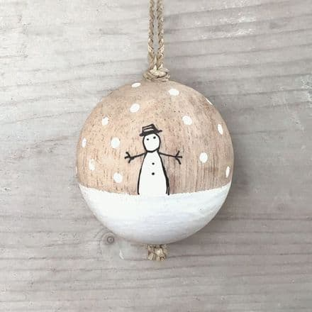 Small Wooden Christmas Bauble by East of India - Snowman