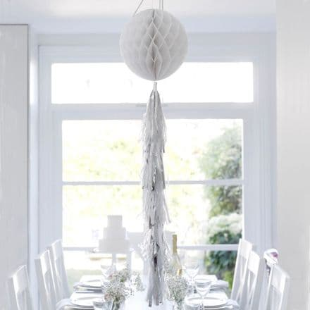 White & Silver Tasselled Honeycomb Ball Hanging Wedding/Party Decoration