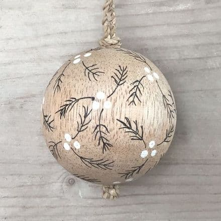 Wooden Christmas Berry Bauble by East of India