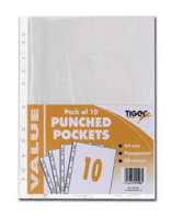 10 pack A4 clear punched pockets (Code 4233)