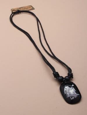 Adjustable black corded necklet with sign of the zodiac pendant (Code 0452)