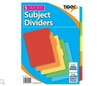 Tiger A4 5 part subject dividers (Code 4097)