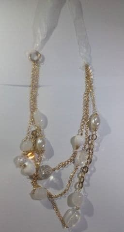 White ribbon and bead necklace (Code 4719)