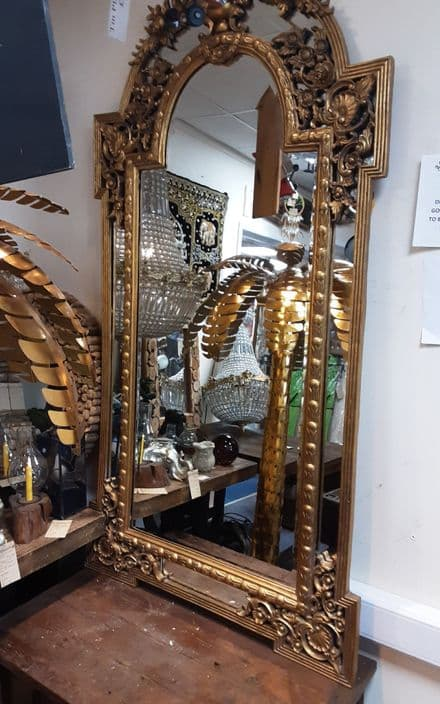 Extra large wooden gilt painted mirror