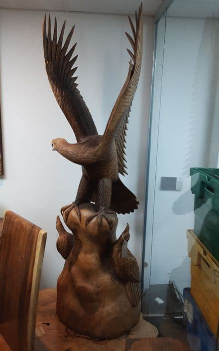 Large wood eagle and chicks hand carved