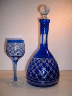 Set of 6 Overlaid hand cut glasses & Decanter Set