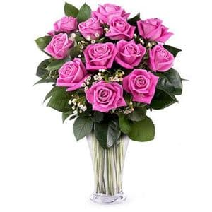 Note of Passion: 12 pink roses