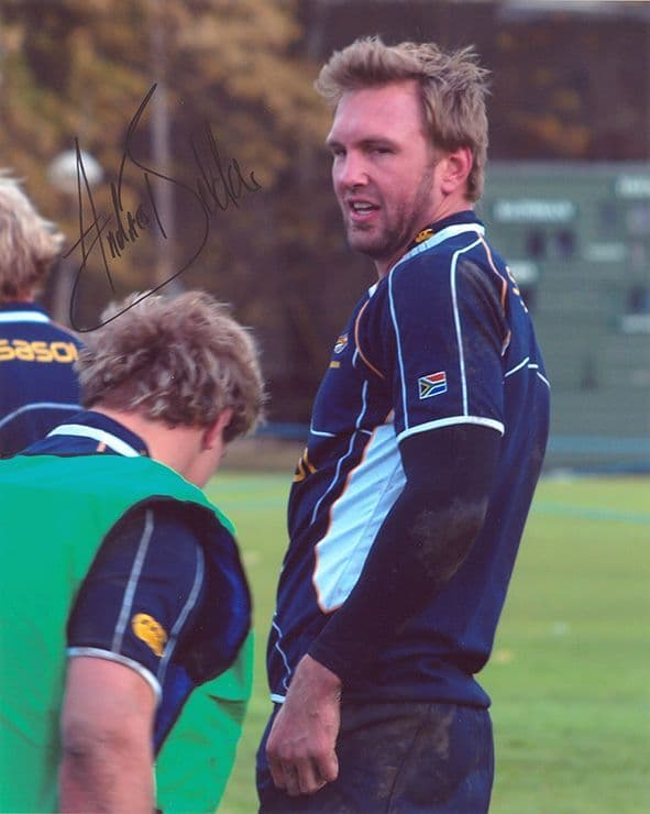 Andries Bekker, South Africa, signed 10x8 inch photo.