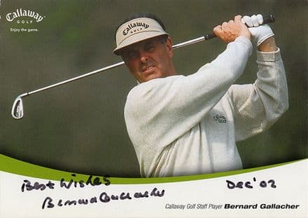 Bernard Gallacher, Scottish golfer, signed 8.25x5.75 inch promo card.