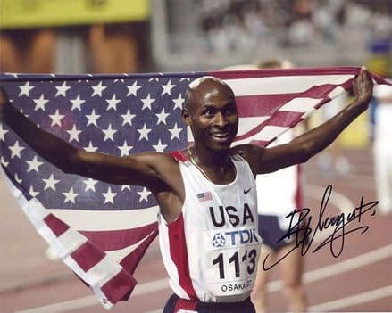 Bernard Lagat, signed 10x8 inch photo.