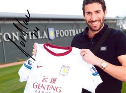 Carlos Cueller, Aston Villa, signed 10x8 inch photo.