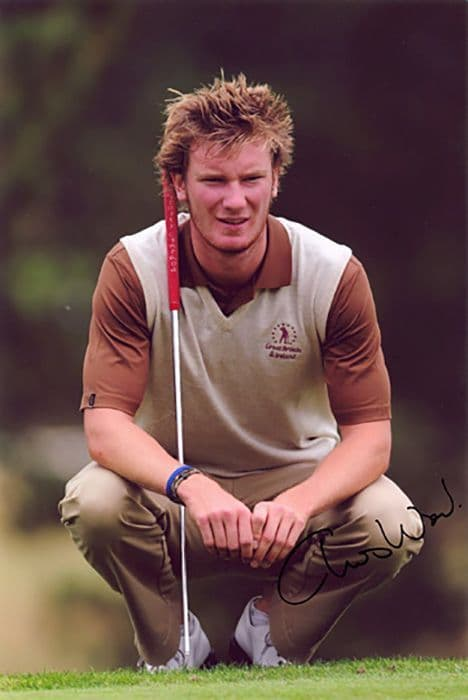Chris Wood, English golfer, signed 12x8 inch photo.