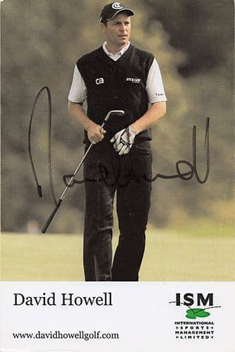 David Howell, English golfer,  signed 6x4 inch promo card.