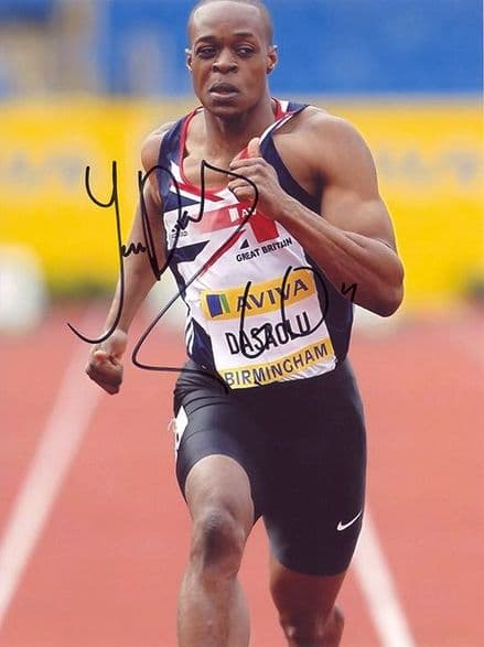 James Dasaolu, British 100m sprinter, signed 8x6 inch photo.