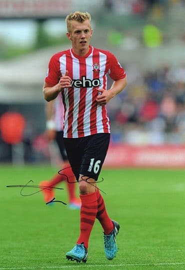 James Ward-Prowse, Southampton, signed 12x8 inch photo.
