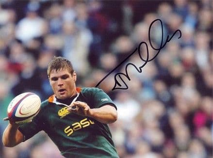Johann Muller, South Africa, signed 8x6 inch photo.