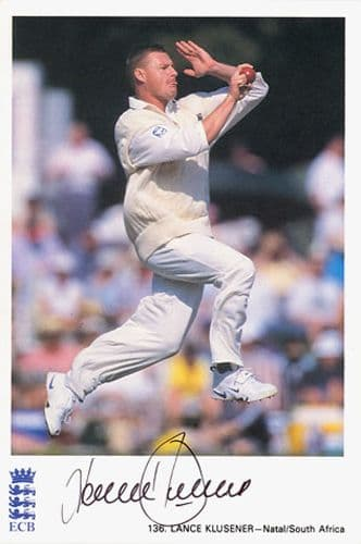 Lance Klusener, Natal & South Africa, signed 6x4 inch promo card.