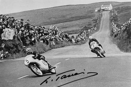Luigi Taveri, Swiss motorcycle road racer, signed 6x4 inch photo.