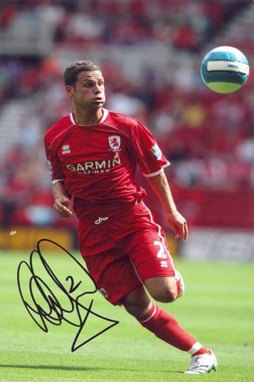 Luke Young, Middlesbrough, signed 12x8 inch photo.