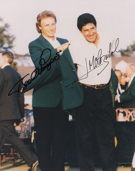 Olazabal & Langer, Masters 1994 Augusta, signed 10x8 inch photo.