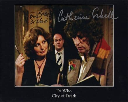 Tom Baker & Catherine Schell, Doctor Who, City of Death, signed 10x8 inch photo.