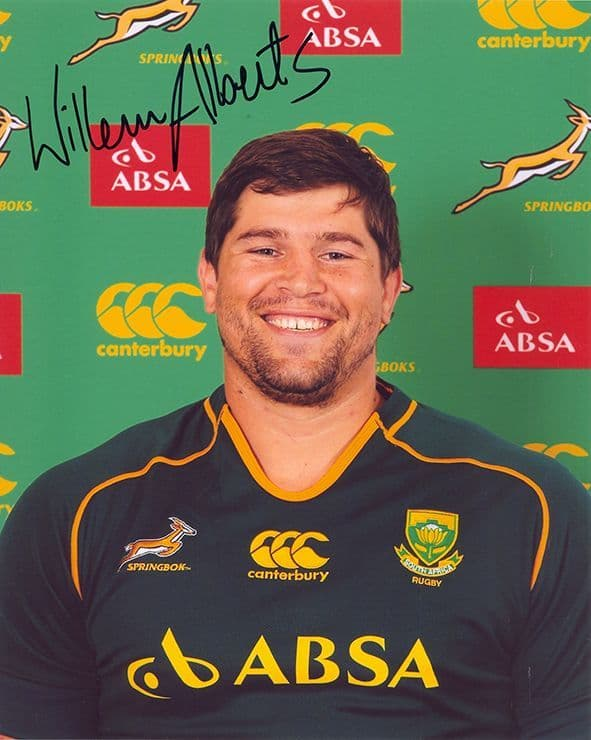 Willem Alberts, South Africa, signed 10x8 inch photo.(2)